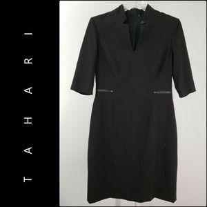 Tahari ASL Woman Stretch Dress Size 10 Black